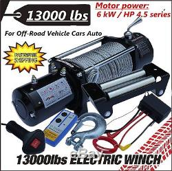 12V 13000LBS Electric Winch Trailer Steel Cable Radio SUV Boat Remote Control AS