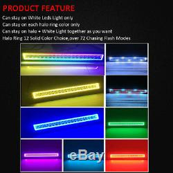 22 LED Light Bar + 2x 3 CREE Pods with RGB Halo Chasing For ATV Ford UTE Boat
