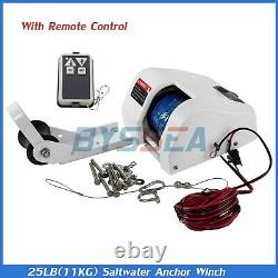 25LBS Boat Electric Anchor Winch Saltwater With Remote Wireless Control