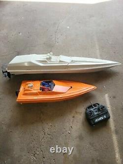 2pc Racing RC Remote Control Boats For Parts Or Repair