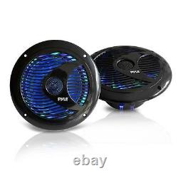 4 X New 6.5'' Inch 150 Watts Marine Boat Stereo Speakers WithMulti-Color LED Ligth