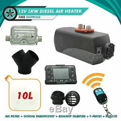 5000W Air Diesel Heater Parking Heater 12V Remote Control Truck Boat Motor-Homes