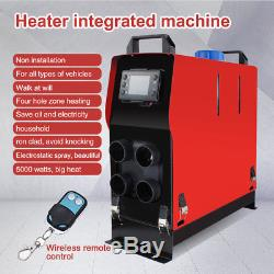 5KW 12V 5000W Air Diesel Heater 4 Holes + Remote Controller for Trucks Boats Car