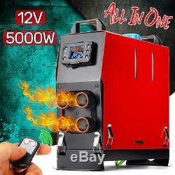 All In One Diesel Air Heater 12V 5KW 4 Hole LCD Thermostat Quite Car Boat Truck