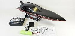 Black Stealth Large Rc Racing Speed Boat Radio Remote Control Boat Twin Motor