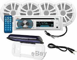 Boss Marine Stereo Package Marine Boat Bluetooth CD Player 4 6.5 White Speakers