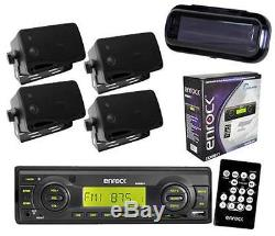 Enrock Boat Marine MP3 USB Radio with 4 Outdoor Box Waterproof Speakers System Pkg