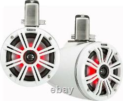 KICKER 45KMTC65W MARINE/BOAT 6.5 WAKEBOARD TOWER SPEAKERS WithLED LIGHT WHITE