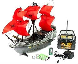 Pirate Ship Radio Remote Control Boat RC Skull & Swords Twin Propellers Red New