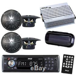 Pyle Indash Boat USB Stereo & Wireless Bluetooth 4 4 Speakers /400W Amp + Cover
