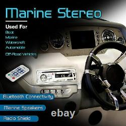 Pyle Marine Boat Stereo Radio, USB, Bluetooth CD Receiver with 2 6.5 Speakers NEW