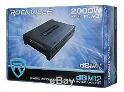 Rockville DBM12 2000w 2 Ohm Marine/Boat Mono Amplifier Amp withCovers+Bass Remote