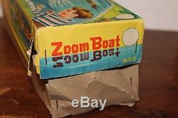 Very Nice Tin Remote Control Battery Operated Toy Time Zoom Boat In Original Box