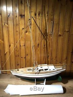 Vintage Large Stunning Hand Built RC Remote Control Pond Yacht Boat 1 Meter Long