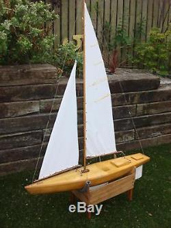 Vintage Large Stunning Wooden Hand Built RC Remote Control Pond Yacht Boat