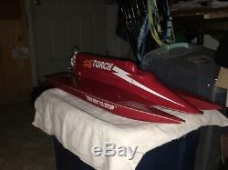 Vintage Remote Controlled RC Nitro Boat F1 Tunnel Hull Style