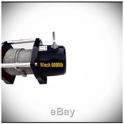 WIN-2X 6000lb 12V Electric Recovery Waterproof Winch Kit with Steel Cable & Remote